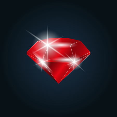 Ruby gemstone shining. Isolated object on a dark background, vector illustration Illustration