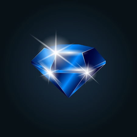 Sapphire gemstone shining. Isolated object on a dark background, vector illustration