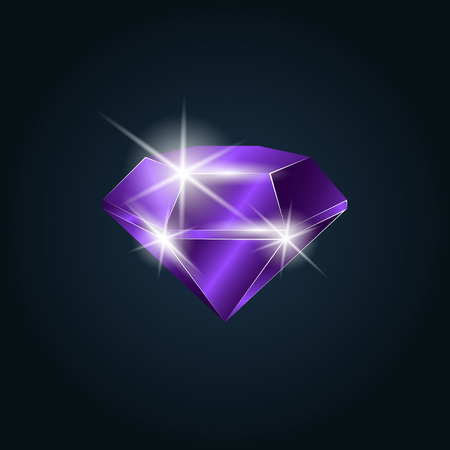 Amethyst gemstone shining. Isolated object on a dark background, vector illustration Illustration