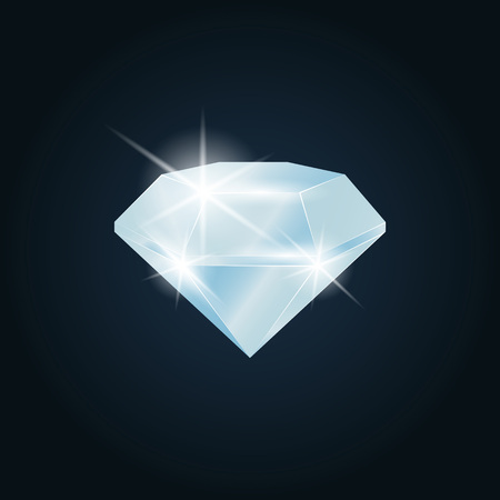 Diamond gemstone shining. Isolated object on a dark background, vector illustration Çizim