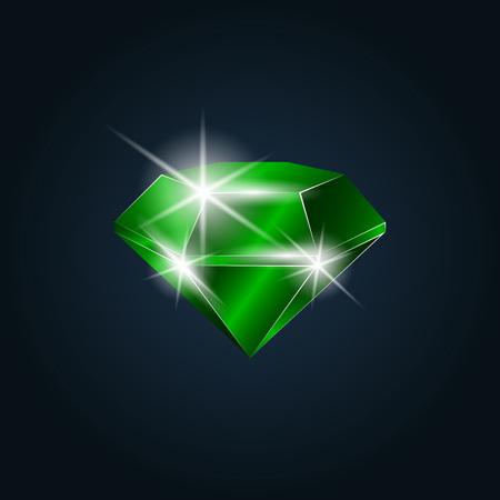 Emerald gemstone shining. Isolated object on a dark background, vector illustration