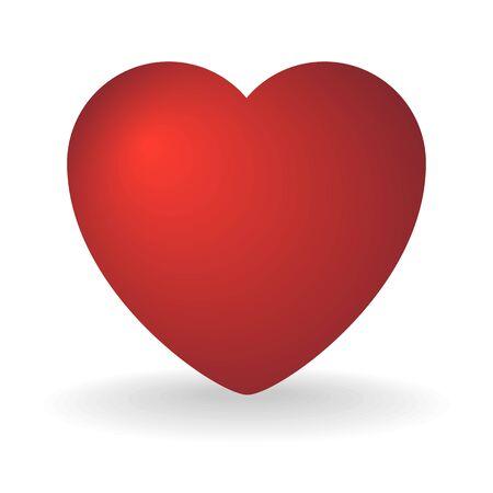 Corazón rojo sobre un blanco