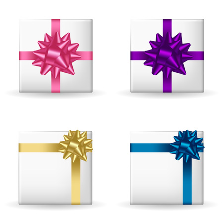 Set of four festive gift boxes decorated with ribbons and bow. Isolated objects on a white background, vector illustration 矢量图像