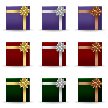 Set of festive gift boxes decorated with ribbons and bow. Isolated objects on a white background, vector illustration