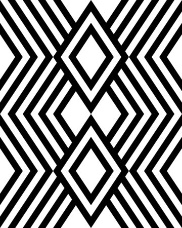 Geometric black and white background. Seamless pattern, vector illustration