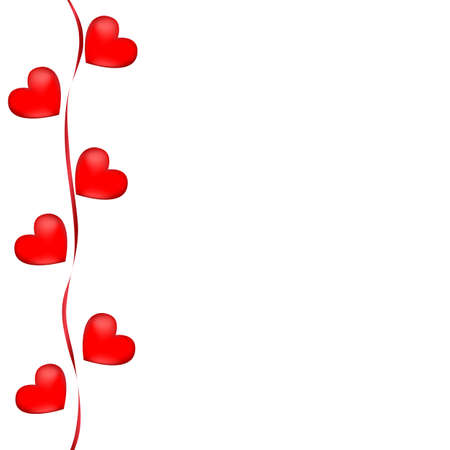 Greeting card heart for Valentine's day or wedding. Red hearts with ribbon on a white background. Isolated object, vector illustration