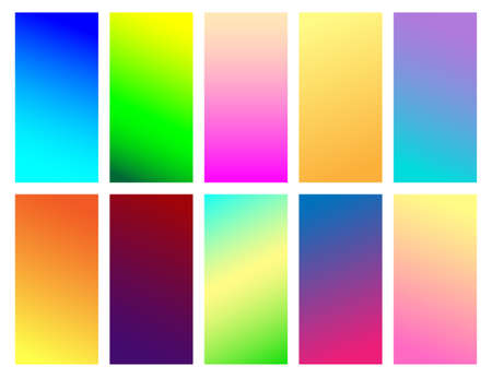 Set of simple colored gradient backgrounds. Seamless pattern, vector illustration