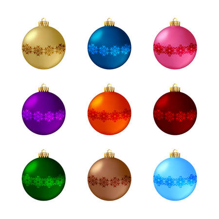 Set of decorative Christmas balls. Isolated objects on white background, vector illustration