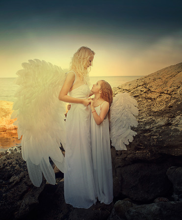 flying kiss: Angels on the beach