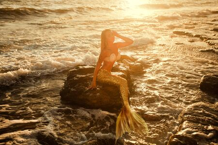 beautiful mermaid with golden tail sits on the seashore
