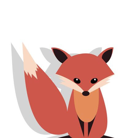 Cute smiling fox vector cartoon illustration. Wild zoo animal icon. Fluffy adorable pet looking straight. Isolated on white. Forest fauna childish character. Simple flat design element for kids