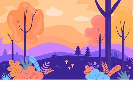 Vector illustration. Beautiful, colorful, bright  illustration of autumn forest. Cartoon illustration.