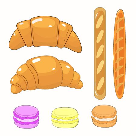 Vector graphics. Adorable, bright cartoon set with french pastries, such as macaroons, baguettes, croissants. White background. Isolated illustration.