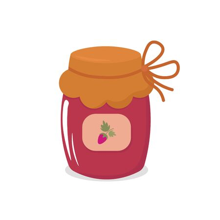 Vector graphics. Bright, cartoon illustration of a jam bottle. Simple pink jam bottle. White background. Auutmnal harvest illustration.