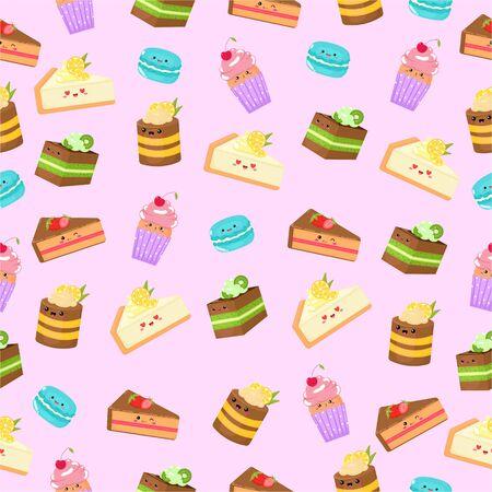 Gráficos vectoriales. Lindo patrón con diferentes pasteles dulces. Personajes de dibujos animados divertidos. Patrón de colores.