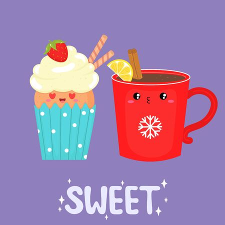 Vector graphics. Adorable, cute illustration of cupcake and cup. Kawaii emoticons. Handwritten text. Greeting card template.