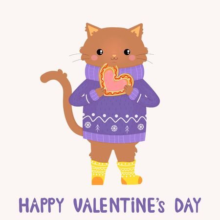 Vector graphics. Adorable, cute illustration of cat, which eats cookie. Handwritten text. Valentines Day greeting card template. Funny character. Illustration