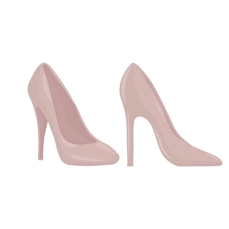 Vector graphics. Adorable, simple illustration of womens shoes. Cartoon illustration.