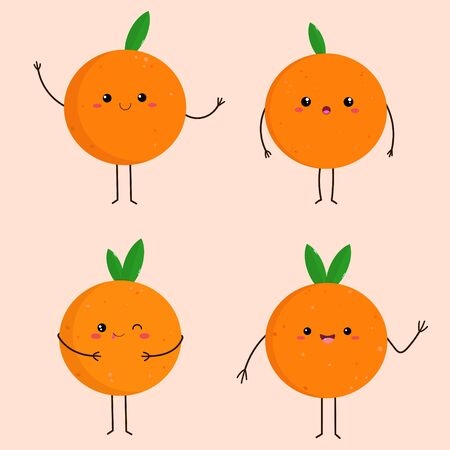 Vector graphics. Adorable, cute illustration of oranges. Simple cartoon illustration. Funny characters with kawaii emoticons.  Ilustracja