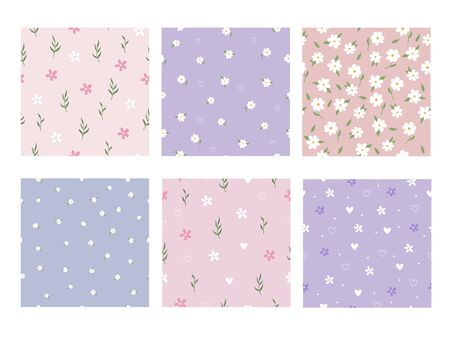 Vector graphics. Adorable, beautiful set of six different floral patterns. Light backgrounds.