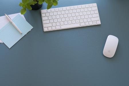 office desk: Blue Office Desk Stock Photo