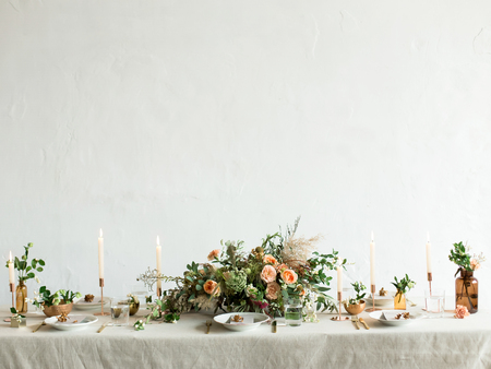 Festive table decorated with flowers.