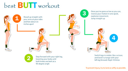 Woman home workout for perfect butt. Vector Illustration. 4 steps instruction. Illustration