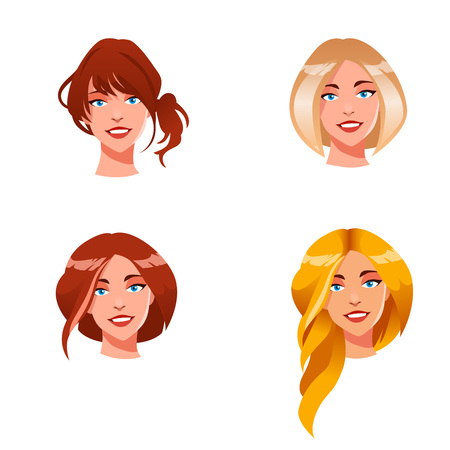 Cute illustrations of beautiful young girls with various hair style 向量圖像