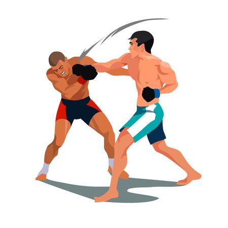 二人の男がボクシングです。戦う試合でお互いに直面しています。ベクトル  イラスト・ベクター素材