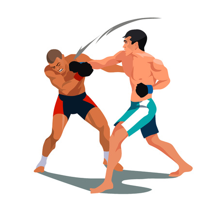 Two men are boxing. Fight facing each other in a match. Vector