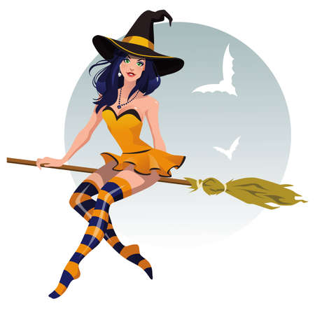 Sexy halloween witch with a broomstick