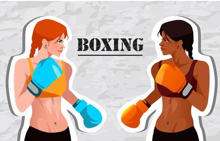 Two boxing beautiful girls. Vector illustration.