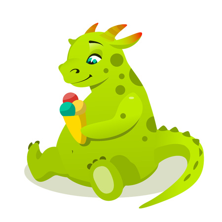triceratops: Cute dino character eating ice cream