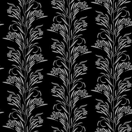 Seamless pattern with stylized dill and leaves