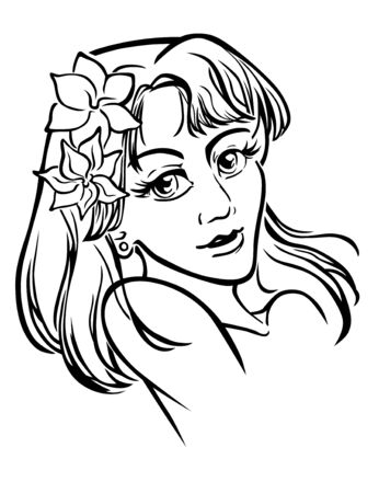 manga style: A monochrome vector portrait of young girl, in manga style. Illustration