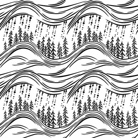 sihlouette: A seamless monochrome vector pattern, with stylized fir tree forest, and falling rain.