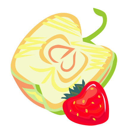 half apple: A vector image of stylized cut in half apple, and red strawberry.