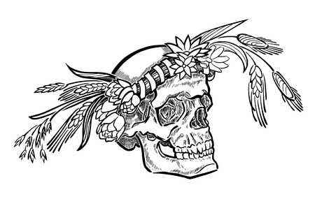 coronal: A stylized monochrome vector drawing, of a skull in flower crown. With stylized rye, tulips, cosmos flowers, grass leaves, spicas, and ribbon. Illustration