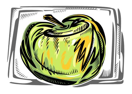 fruit stem: A stylized vector green apple. Illustration