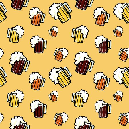 tankard: A seamless vector pattern with beer mugs. Illustration