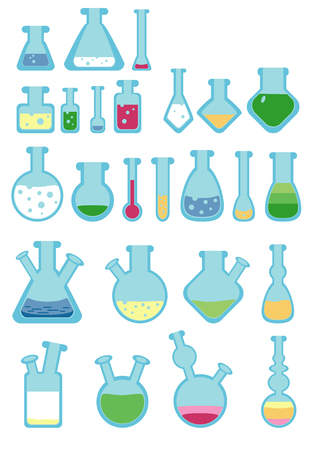 with liquids: A set of stylized test-tubes and flasks, with color liquids.