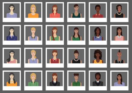 blonde curly hair: A set of female avatars Illustration