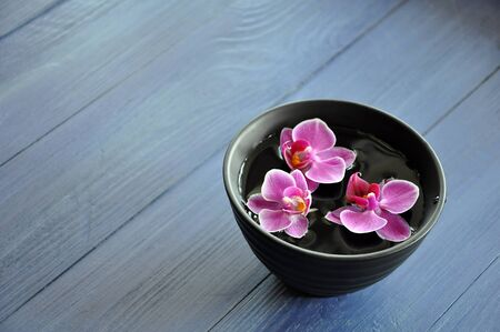 Black clay bowl with three floating purple Phalaenopsis orchid flowers on the blue wooden table, selective focus