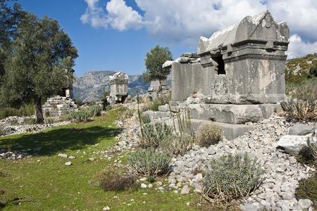 tumbas: Ruins of ancient tombs in Sidyma,Turkey Foto de archivo