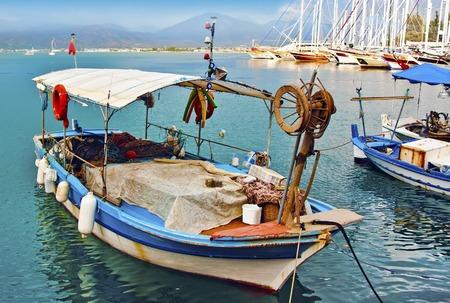 oludeniz: Picturesque fishing boats, Fethiye, Turkey Stock Photo