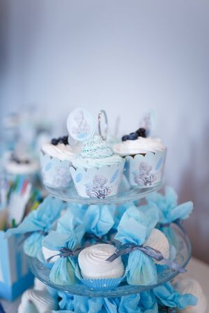 Izmail, Ukraine - July 2019. Candy bar for one year old boy first birthday. Muffins with blue creme, blueberries and teddy bear cartoon character illustration. Verical shot, copy space
