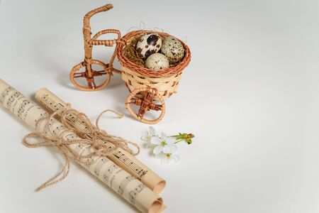 Easter and spring concept. Wicker decorative bicycle with quail eggs nest, cherry blossom and note paper on white background. Copy space. 免版税图像