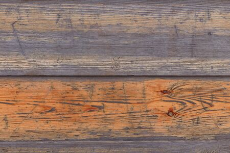 Brown wooden boards or fence texture background or backdrop with old paint