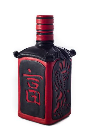 leather decorative bottle or flask for alcohol drinks on white background
