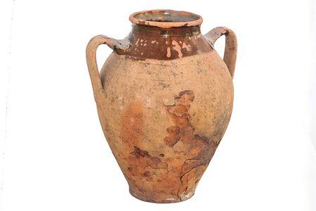 old vintage ancient broken scratched ceramic dark vase or pot on white background Reklamní fotografie